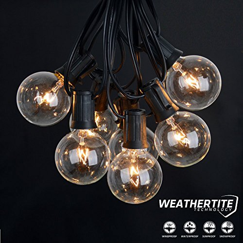 Lemontec String Lights,25FT Vintage Backyard Patio Lights with 25 Clear Globe Bulbs-UL listed for Indoor/Outdoor Use, Globe Wedding Light, Deckyard Tents Market Cafe Porch Party (2 Pack 50 Bulbs 50FT) by Lemontec (Image #6)