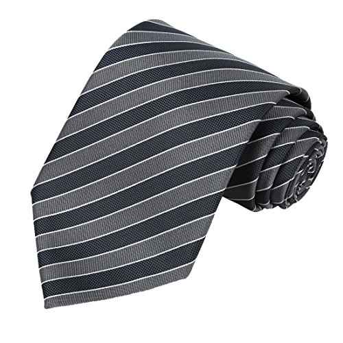 KissTies Men's Striped Tie Extra Long Necktie Wedding Party Gift (63'' XL),Grey