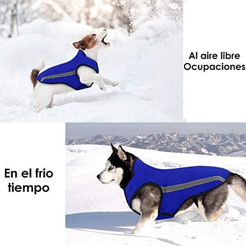 Chaqueta de invierno para perros forro de franela desmontable abrigo para perros cuello ajustable y tamaño de pecho pequeños medianos grandes 2