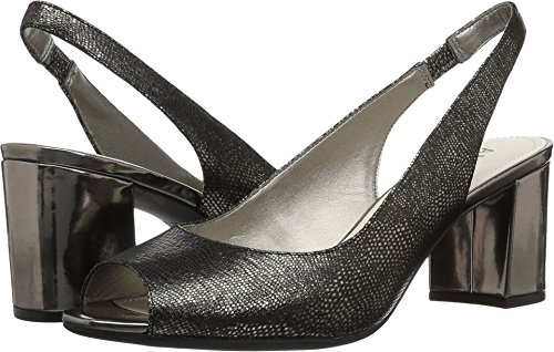 Anne Klein Women's Maurise Peep Toe Sling-Back Pump, Pewter Reptile 7 M US