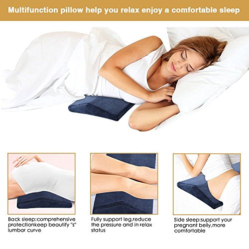 Lemebo Soft Memory Foam Sleeping Pillow for Lower Back Pain,Multifunctional Lumbar Support Cushion for Hip,Sciatica and Joint Pain Relief,Orthopedic Side Sleeper Bed Pillow (Navy Blue)