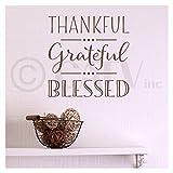 Thankful grateful blessed vinyl lettering wall decal (10'' x 10'', Metallic Bronze)