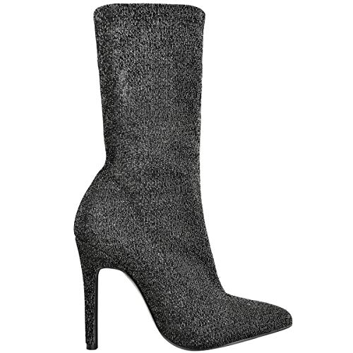 Glitter Black Ladies Stretch High Shimmer Ankle Lycra Fashion Heels Shoes Stiletto Thirsty Pointed Womens Boots Toe pH6wO
