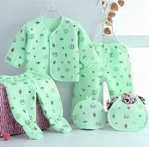 Sharma Clothing New Born Baby Winter Wear Keep Warm Cartoon Printing Baby Clothes 5Pcs Sets Baby Boys Girls Unisex Baby Fleece/Falalen Suit Infant Clothes (Green Suit)