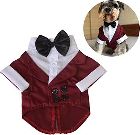 Balacoo Disfraz de Mascota Smoking Perro Traje Formal de Boda con Pajarita Ropa Caballero del Perro para Fiesta Bodas Halloween: Amazon.es: Productos para mascotas