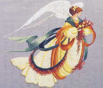 Lavender & Lace ANGEL OF AUTUMN COUNTED CROSS STITCH CHART