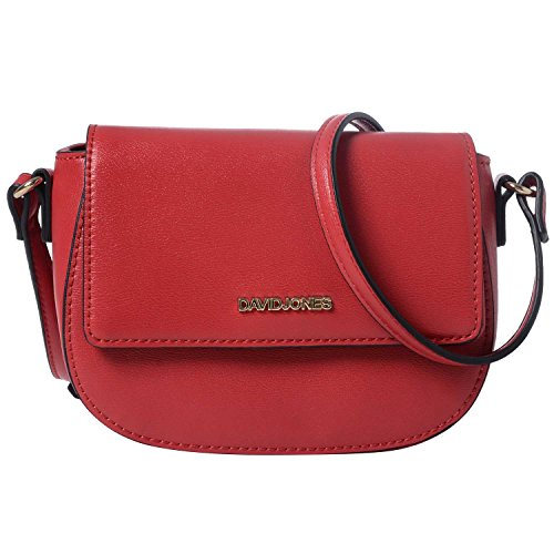 DAVIDJONES Saddle Purse Crossbody Bags for Woman Small PU Leather Zipper Flap (Small Flap Body Bag)