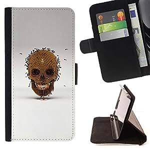 Momo Phone Case / Flip Funda de Cuero Case Cover - Honey Bee Oro cráneo Bronce Gris - Sony Xperia Z5 5.2 Inch (Not for Z5 Premium 5.5 Inch)