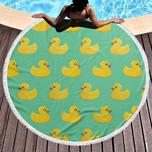 SSERFT Fun Novelty Rubber Ducky Thick Round Beach Towel Blanket Circle Tablecloth Or Table Cover Tassels Ultra Soft Super Water Absorbent Towels for Bathroom Pool Or Beach -