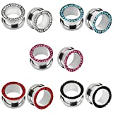 IPINK-10pcs Stainless Steel Screw Flesh Tunnel Ear Plug Expander Stretcher Muliti- Colors 8g-9/16 (5 Pairs of Gauge=8g(3mm))