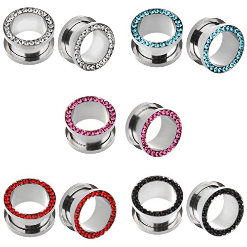 (IPINK-10pcs Stainless Steel Screw Flesh Tunnel Ear Plug Expander Stretcher Muliti- Colors 8g-9/16 (5 Pairs of Gauge=00g(10mm)))