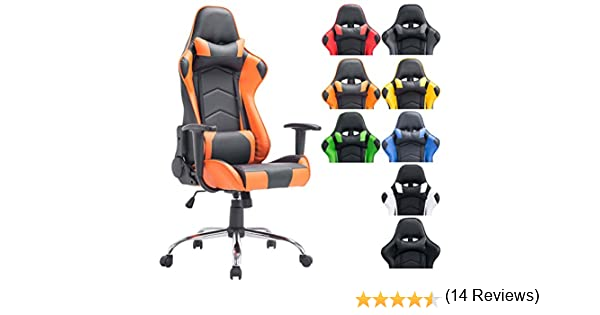 CLP Silla Racing XXL Miracle en Cuero Sintético I Silla Gaming Regulable en Altura I Silla Gamer con 2 Cojínes Removibles I Color: Negro/Naranja: Amazon.es: ...