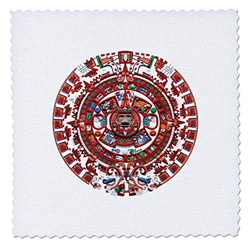 3dRose Macdonald Creative Studios – Mexico - The Ancient Sun Mayan Calendar from pre-Columbian Mexico. - 18x18 inch Quilt Square (qs_295602_7) ()
