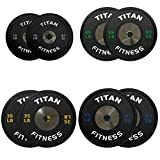 230 LB Set of Titan Elite Olympic Bumper Plates (Black w/ Colored Lettering)