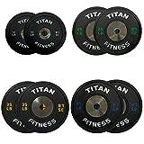230 LB Set of Titan Elite Olympic Bumper Plates (Black w/ Colored Lettering)