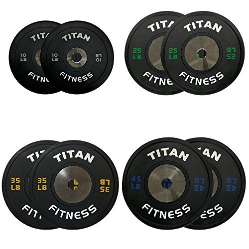 230 LB Set of Titan Elite Olympic Bumper Plates (Black w/ Colored Lettering) by Titan Fitness