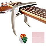 COOCHEER Zinc Alloy Guitar Capo Pin Puller Capo,3 Free Guitar Picks and 1 piece Guitar Wiper for Acoustic, Electric Guitars,Ukulel, Banjo and Mandolin (silver)
