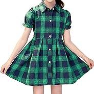 Gooket Little & Big Girls' Check Plaid Long Sleeve Collar Neck Casual Button Down Shi