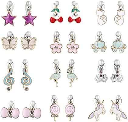 PinkSheep Clip On Earrings for Little Girls, Flamingo Earrings Butterfly Earrings for Kids, 12 Pairs, Best Gift