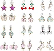 PinkSheep Clip On Earrings for Little Girls, Flamingo Earrings Butterfly Earrings for Kids, 12 Pairs, Best Gif