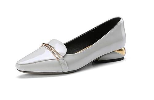 Mocasines de Cuero de Mujer Zapatos Planos de Tacón bajo de Metal: Amazon.es: Zapatos y complementos