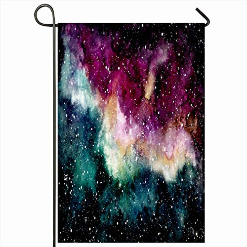 (Ahawoso Outdoor Garden Flag 12x18 Inches Nebula Twinkle Blue Magenta Watercolor Outer Space Deep Galaxy Pink Night Nature Purple Sky Celestial Seasonal Double Sides Home Decorative House Yard Sign)