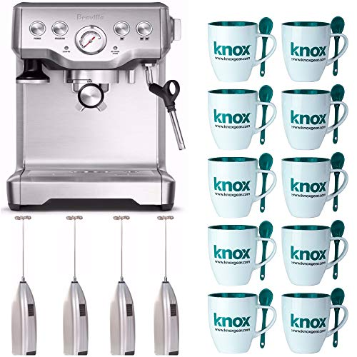 Breville BES840XL the Infuser Espresso Machine Includes Set of 10 Mugs with Spoons and 4 Handheld Milk Frothers