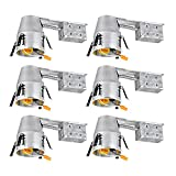 TORCHSTAR 4-inch UL-Listed Remodel Can, Air Tight IC Housing, TP24 Connector Included for LED Recessed Retrofit Kit, 120V Line Voltage, Pack of 6