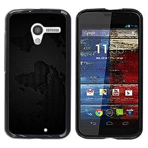 Carcasa Funda Prima Delgada SLIM Casa Case Bandera Cover Shell para Motorola Moto X 1 1st GEN I XT1058 XT1053 XT1052 XT1056 XT1060 XT1055 / Business Style Black Grunge Pattern