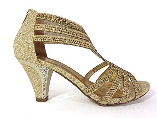 Kinmi25n Donna Open Toe Mid Heel Da Sposa Strass Gladiatore Sandalo Scarpe Oro