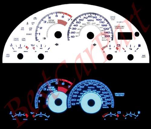 97-02 Chevy Camaro Z28 WHITE GLOW EL (99 Reverse Speed Glow Gauges)