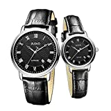 Jiusko Sapphire - His Hers Couple Watches Gift Set - Black Leather Strap - Roman Numerals