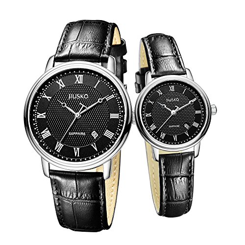 Jiusko Sapphire - His Hers Couple Watches Gift Set - Black Leather Strap - Roman Numerals by JIUSKO