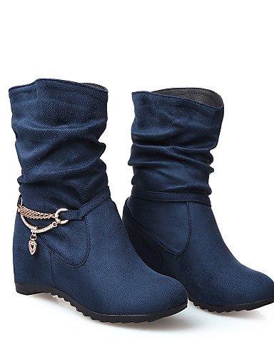 Cuña Cn us7 Mujer Red 5 Eu38 Redonda Botas Blue Casual 5 Eu39 Xzz 5 Zapatos Tacón La Moda A Uk5 Vestido Negro De Azul Uk6 Rojo Punta us8 Cn38 Vellón Cuñas Cn40 5 wInRq4pRE