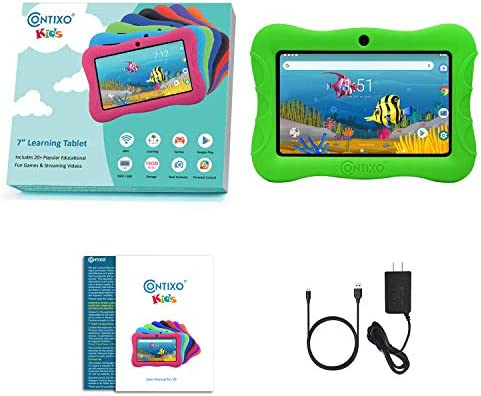 Contixo 7 Inch Kids Learning Tablet Parental Control 16GB Android 9.0 for at Home School Children Infant Toddlers - Pre-Loaded Educational Apps - Child-Proof Case - Great Gift for Children (Green)