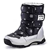BIGU Snow Boots Girls Boys Outdoor Waterproof Winter Flat Shoes with Fur Lined(Toddler/Little Kid/Big Kid)