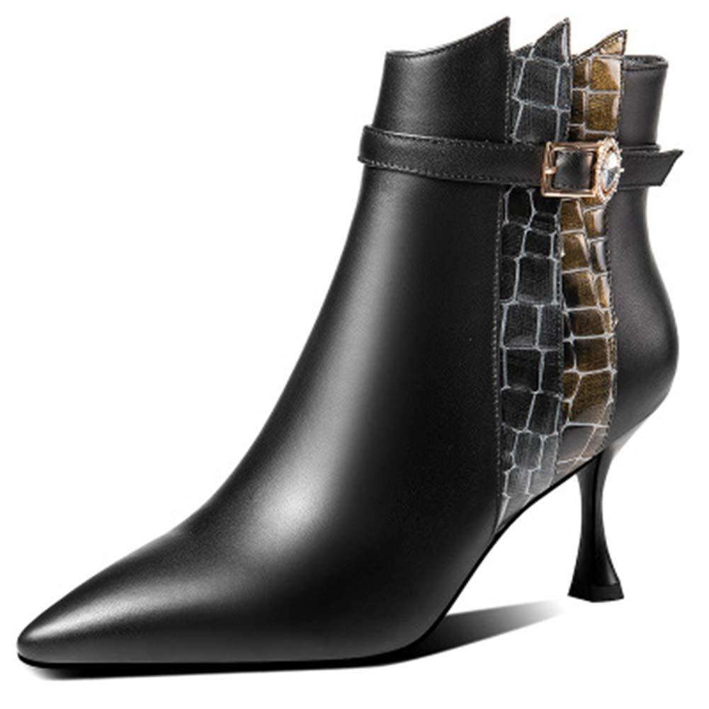 Frauen-Absatz-Stiefeletten Spitz Toe Stiefelies mit seitlichem Reißverschluss Martin Stiefel,Schwarz,35