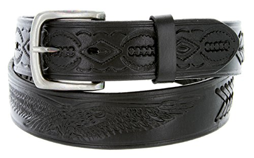 Mens Oil Tanned Western Style Genuine Leather Tooled and Laced Belt (32, Black)