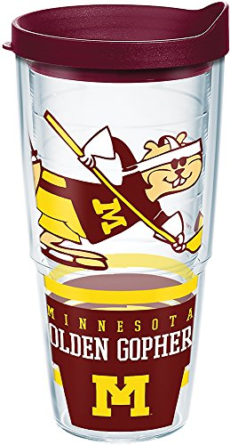 Tervis 1283870 Minnesota Golden Gophers Retro Hockey Tumbler with Wrap and Maroon Lid 24oz, Clear