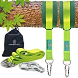 EnergeticSky Tree Swing Strap Hanging Kit,Holds 2000 lbs with Two Zinc Alloy Carabiners & 2 Tree Protectors Perfect for Child Swing,Circle Swing,Hammock,Swing Sets (2 Lengths). (Green (10ft))