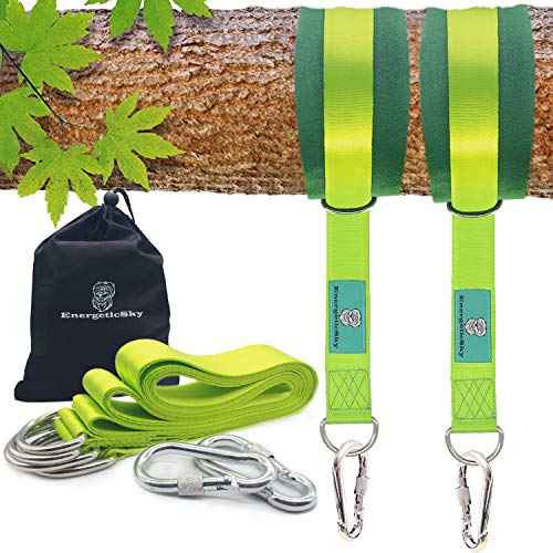 Best Review Of EnergeticSky Tree Swing Strap Hanging Kit,Holds 2000 lbs with Two Zinc Alloy Carabine...