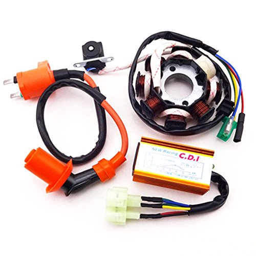 Racing Stator - TC-Motor Magneto Stator + Racing Ignition Coil + 6 Pins Wires AC CDI Box For Chinese GY6 125cc 150cc Engine ATV Quad Moped Scooter