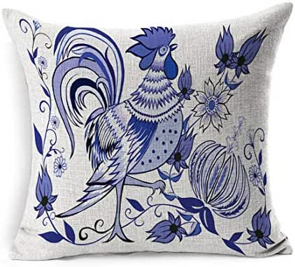 Ahawoso Linen Throw Pillow Cover Square 16x16 Claws Colorful Beak Floral Pattern Flowers Birds Abstract Rooster Animals Wildlife Beard Bindweed Bud Chicken Pillowcase Home Decor Cushion Pillow Case