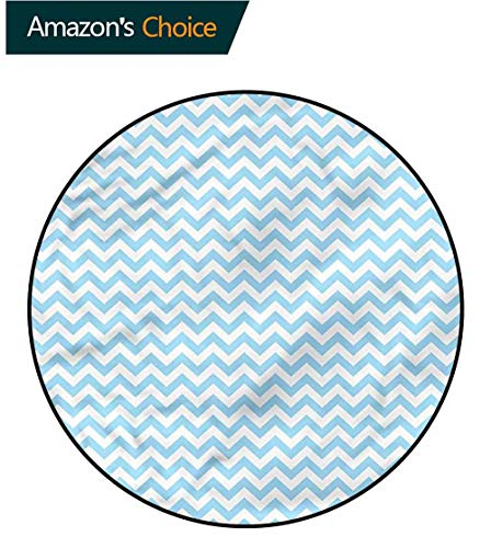 RUGSMAT Chevron Modern Washable Round Bath Mat,Sea Inspired Color Palette Non Skid Nursery Kids Area Rug for Bedroom Machine Washable -