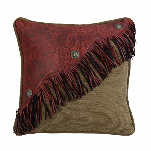(HiEnd Accents San Angelo Western Leather Fringe Pillow,)