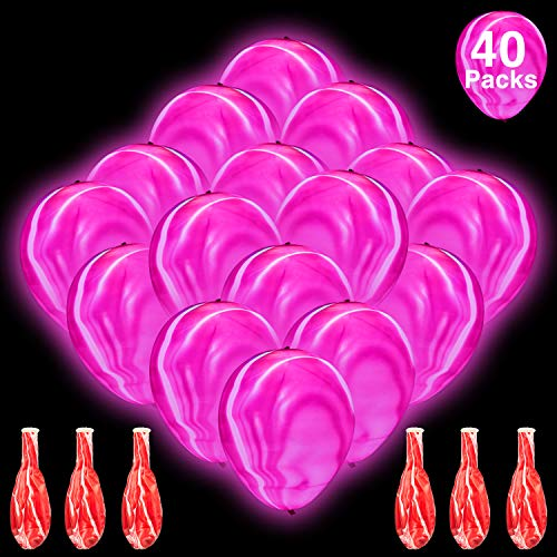 Pink Led Balloons (40 Pieces LED Light Up Balloons Pink Marble Balloons Glow in The Dark Balloons for Birthday Party Wedding Bridal Shower Baby)