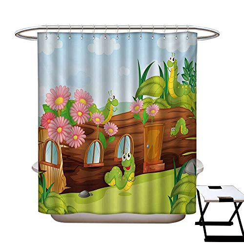 hower Curtain Liner Cute Friendly Smiling Worms in Wooden Tree House Animal Image Shower Hooks are Included Chocolate Sky Blue and Apple Green72×72