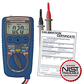REED Instruments ST-118-NIST POCKET MULTIMETER/VOLTAGE DETECTOR, 600V AC/DC W/NIST CERT: Amazon.com: Industrial & Scientific