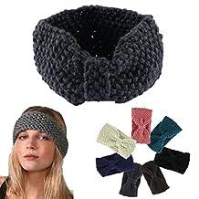 Tenworld Women Girl Hairband Winter Crochet Bow Knitted Head wrap Ear Warmer