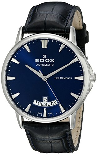 Edox-Mens-83015-3-BUIN-Les-Bemonts-Analog-Display-Swiss-Automatic-Blue-Watch